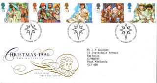 1 November 1994 Christmas Royal Mail First Day Cover Bethlehem Shs photo