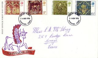 24 November 1976 Christmas Post Office First Day Cover Romford Essex Fdi photo