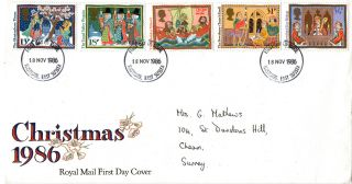18 November 1986 Christmas Royal Mail First Day Cover Hastings Fdi photo
