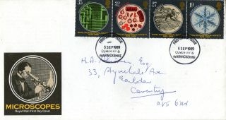 5 September 1989 Microscopes Royal Mail First Day Cover Coventry Fdi photo