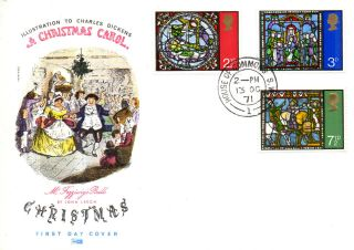 13 October 1971 Christmas Philart First Day Cover House Of Commons Sw1 Cds photo