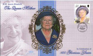 Jersey 4 August 2000 Queen Mother Benham Silk First Day Cover Shs (a) photo