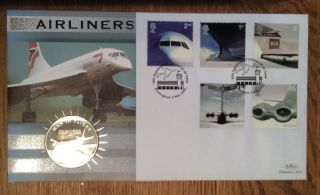 Coin/stamp First Day Cover - Airliners 2002 photo