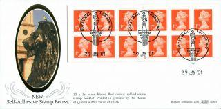 29 January 2001 £3.  24 Nvi Booklet Pane Cylinder Benham D 363 Fdc London Wc Shs photo