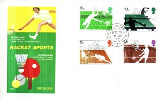12 January 1977 Racket Sports Philart First Day Cover House Of Commons Sw1 Cds photo