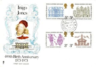 15 August 1973 Inigo Jones Philart First Day Cover House Of Commons Sw1 Cds photo