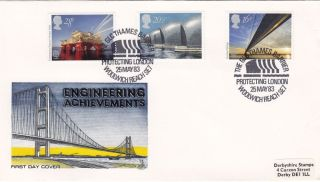 1983 Engineering Achievements Mercury Fdc Thames Barrier Woolwich Reach Se7 Shs photo