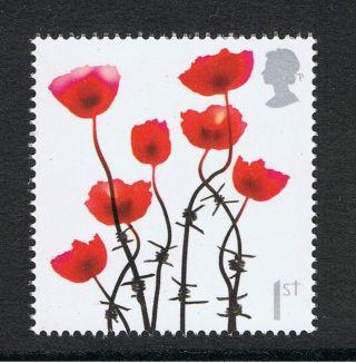 Battle Of Somme Poppy Illustrated On 2006 British Commemorative Stamp photo