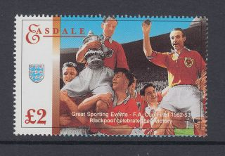 1995 Gb Easdale Island Um/m £2 Football Stamp Blackpool Fa Cup Victory 1952 - 53 photo