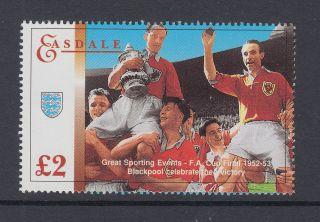 1995 Gb Easdale Island Um/m £2 Football Stamp Blackpool Fa Cup Victory 1952 - 53 photo