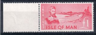 Isle Of Man = (1966) £1 Deep Pink Revenue Stamp.  Barefoot 84.  Marginal. photo
