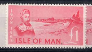 Isle Of Man = (1966) £1 Deep Pink Revenue Stamp.  Barefoot 84. . photo