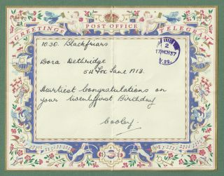 1937 Pretty Post Office Greetings Telegram With Gold Envelope photo