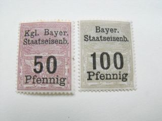 Germany Bavaria Bayer Staatseisenb - - 50pf 100pf - - Hinged photo