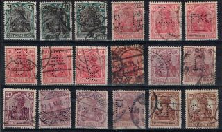 Germany Perfin Stamp Eighteen Diff.  Perfins 14 photo