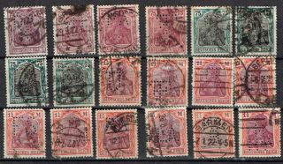 Germany Perfin Stamp Eighteen Diff.  Perfins 15 Germania photo