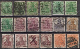 Germany Perfin Stamp Eighteen Diff.  Perfins 1 photo