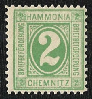 + 1884 Chemnitz Saxony German States 2pf Local Bypost Stadtpost Bob photo