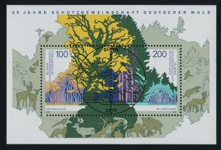 Germany 1968 (cto) - German Forests,  Trees,  Animals,  Birds,  Map photo