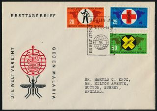 Germany Gdr 638 - 40 Fdc Insect,  Malaria Eradication,  Map,  Medicine photo