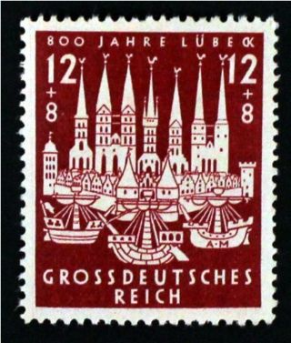 ✠ ✔hanseatic Town Lubeck 1943 Mh✠stamp/3rd Reich/ww2/swastika/german/nazi (2408) photo