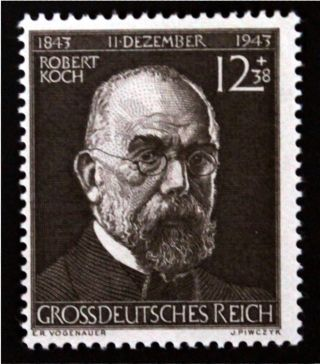 ✠ ✔ Dr Koch - Bacteriologist 1944 Mh ✠stamp/3rd Reich/ww2/german/nazi (2407) photo