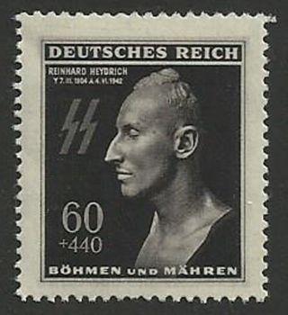 Ww2 Germany Böhmen Und Mähren.  Bohemia.  Reinhard Heydrich 1943 Stamp. photo