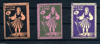 Latvia 1930 ' S Busim Laipni Cinderellas 3 Color Variations photo