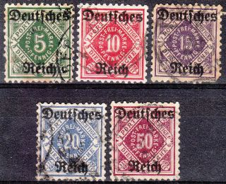 Stamp Germany Official Mi 052 - 6 Sc O59 - 63 Dienst Reich Wurttemberg Porto photo