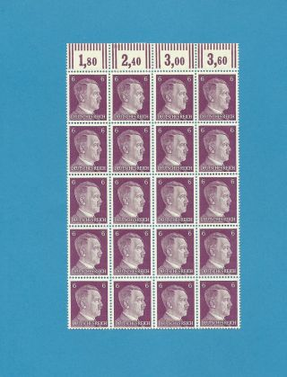 From An Sheet / Adolph Hitler Stamp Block Of 20 / Pf06 / 1941 Issues photo