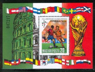 Hungary - 1990.  Souv.  Sheet - World Cup Soccer Chships,  Italy (sport) Mi Bl.  210 photo