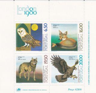 Portugal 1980 Lisbon Zoo Animals Souvenir Sheet photo