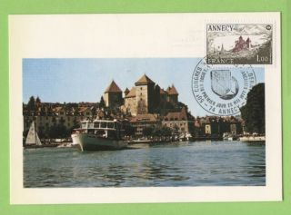 France 1977 50th Philatelic Congress,  Annecy Maximum Card,  Fdi photo