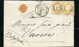 France 1874 Cover Verdun Verviers (belgium) Yv 55x2 photo