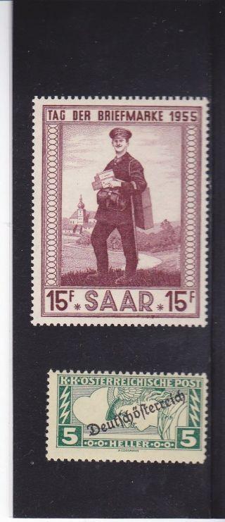 Austria - Slovenia 1918 - 19 Kk Osterreiche & Saar 1955 Briefmarke 15f,  2 Overprints photo