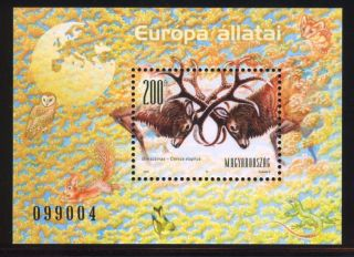 Hungary - 2001.  S/s - Animals Of Europe / Deer,  Owl,  Squirrel Mi Bl.  262. photo
