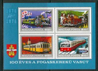Hungary - 1974.  Souv.  Sheet - Budapest ' S Cogwheel Railroad/train Mi Bl.  107 photo