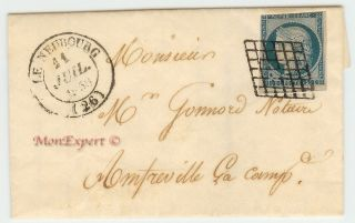 France Cover - 1850 25 Centime Blue - Le Neubourg To Amfreville - Xf photo