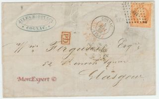 France Cover 1860 - 40 Centime Orange - Cognac To Glasgow (uk) - Xf photo