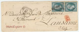 France Cover 1860 - 2x 20 Centime Blue - Strasbourg To Lausanne Swiss - Xf photo