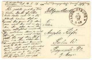 Germany Stuttgart Postcard Fpo Feldpost Ludwigsburg 1916 Stampless Cover photo