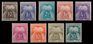 Andorra (french) 1946 - 1950 Scott J32 - J40 Due Mh Cv$73 photo