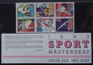 Sweden 1993 Sports Championships,  6 Stamp Bklt + Pane Fresh. photo