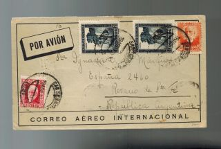 1932 Alicante Spain Airmail Cover To Rosario Argentina photo