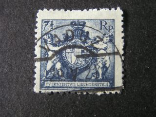 Liechtenstein,  Scott 58,  71/2p.  Value Dark Blue 1921 Coat Of Arms Issue photo