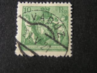 Liechtenstein,  Scott 59,  10rp Value Yellow Green 1921 Coat Of Arms Issue photo