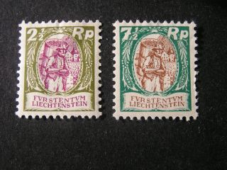 Liechtenstein,  Scott 74+76 (2),  1924 - 28 Local Scenes Issue Mh photo