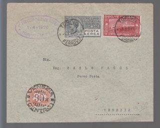 1926 Italy First Flight Cover Ffc Turin To Venice Postage Due C 4 Sassone 55b photo
