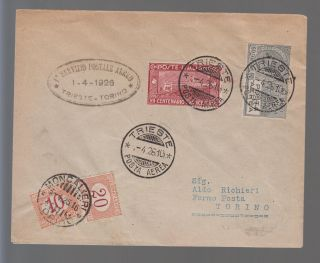 1926 Italy First Flight Cover Ffc Trieste To Turin Postage Due C 4 Sassone 55 photo