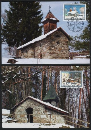 Liechtenstein 1400 - 2 On Maxi Cards - Christmas,  Architecture photo